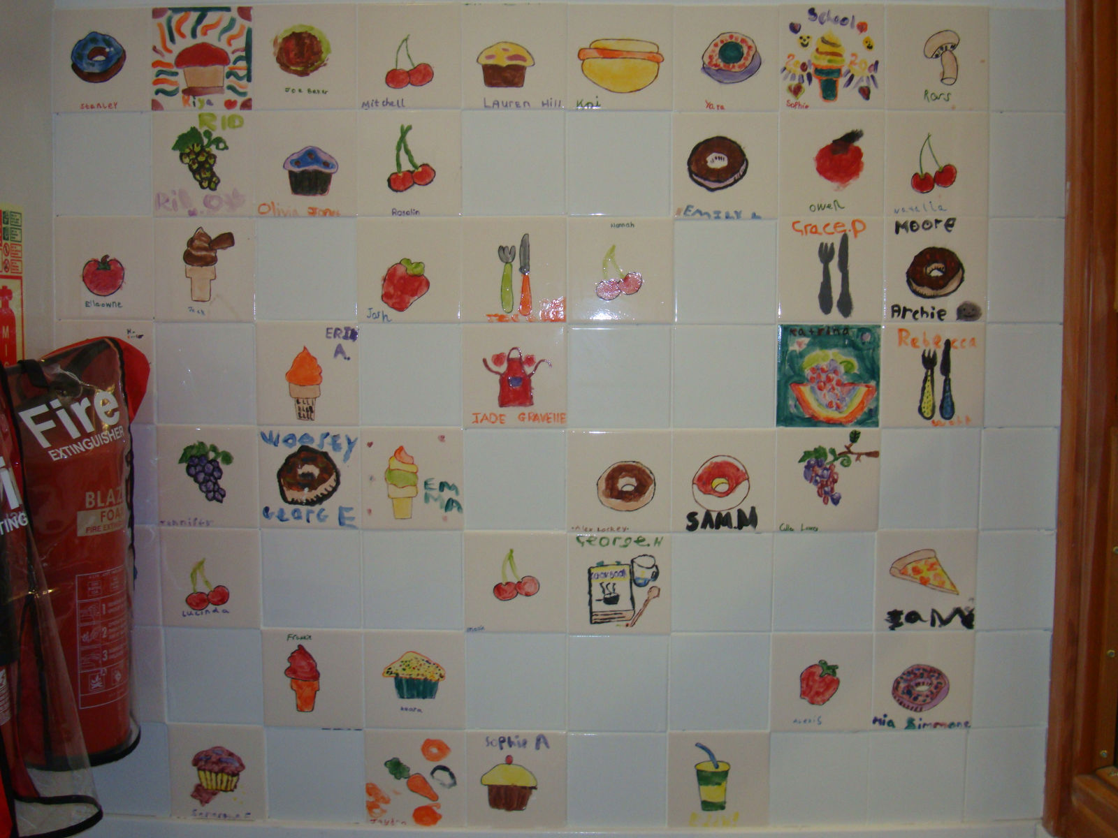 School Kitchen Tiles Decorated by Some of the Students